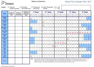 School Year Calendar 2016- 2017
